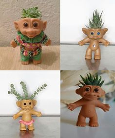 Troll doll planters - not sure whether i find them really cool or really tacky he he!