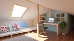 Attic interior design and rendering created by Puncto. Attic Apartment, Apartment Design, 3d Design, Apartments, Corner Desk, Layout, Mirror, Interior Design, Bed