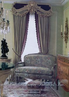 Fabulous inspiration images and sources for Ornamented Classical Window Treatments Victorian Curtains, Victorian Decor, Classic Curtains, Drapery Designs, Beautiful Curtains, Custom Window Treatments, Window Styles, French Decor, Drapes Curtains