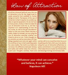 Law of Attraction, Universal Spiritual Laws, Napoleon Hill, Visualization, Achievement, Success,  Christmas, Hanukkah, Holidays, Quotes