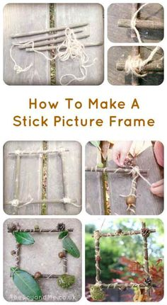 nature art Forest Craft: How To Make A Picture Frame With Sticks MaryAnn Nesbit I feel like we did this for craft day. And then hung them in the apartment. Forest School Activities, Nature Activities, Craft Activities, Outdoor Activities, Outdoor Learning, Outdoor Education, Summer Activities, Gruffalo Activities, Early Education