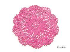 Crochet piccolo centrino centrino uncinetto rosa di CreArtebyPatty