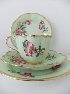 Vintage Bone China tea cup, saucer and side plate - Clare China in mint green…