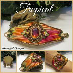 Perle tropicale brodé soie Shibori manchette w par RavengirlDesign