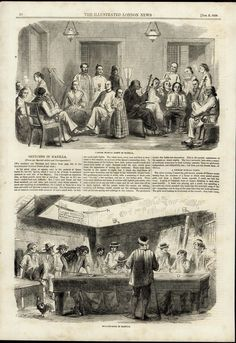 Chinese Musical Party Billiard Room Manilla Philippines 1858 antique print #Vintage