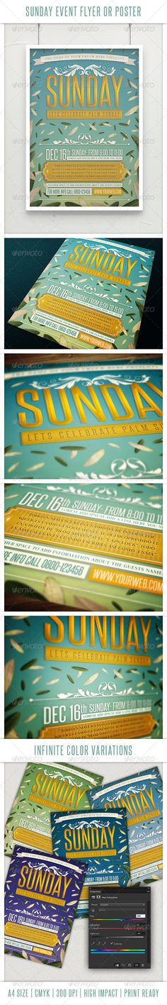 This high impact flyer or poster is perfect for your Sunday event. A4 size, 0,5 bleeds, 300 DPI, CMYK, Print ready. Very easy to add your own text! All the fonts used are free,  Fonts used: Judson http://www.fontsquirrel.com/fonts/judsonSteelfishhttp://www.daf