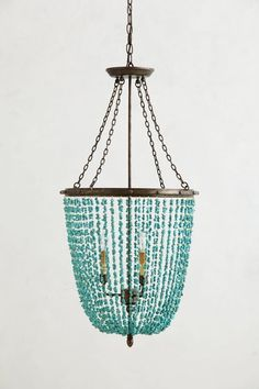 turquoise beaded chandeliers high diy - Turquoise Chandelier Light
