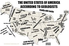 The USA as seen by geologists. Earth And Space Science, Earth From Space, Science And Nature, Geology Puns, Science Jokes, Science Pics, Science Images, Science Writing, Science Fun