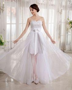 Sheath/Column Sweetheart Sleeveless Floor-length White Tulle Wedding Dress WS1012