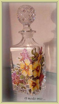 bottiglia cristallo decorata