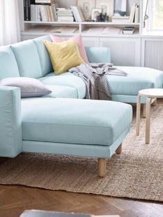 Many people think modular seating arrangements won't work in a small space, but they can actually take up less room than a traditional sofa and loveseat.— Janice Simonsen, design spokesperson,IKEA