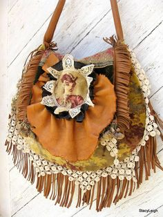 French Carpet Bag with Leather Fringe and Antique by stacyleigh