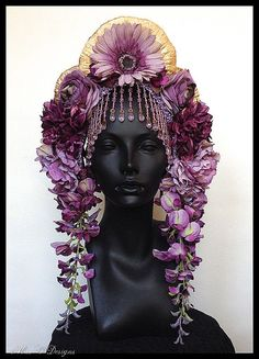 Lavender Amethyst Flower Headdress, More inspiration for my novella from Miss G's shop. Costume Original, Flower Headdress, Wedding Headdress, Wedding Headband, Tiaras And Crowns, Hair Art, Headgear, Hair Pieces, Costume Design
