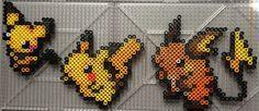 #025-#026, #172 Pikachu Family - Pokemon perler beads by TehMorrison