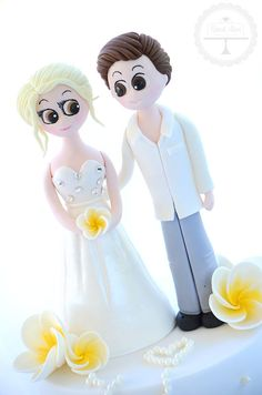 Personalised bride and groom cake topper - all hand crafted from sugar