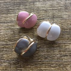 """ALMOND Earrings Pick between the three colors, baby pink, white, light grey. roughly the size of an almond (hence name) 1/2"""" . perfect for a black dress or a blouse. gold tone fashion earrings with epoxy/enamel. Ocean Jewelers Jewelry"""