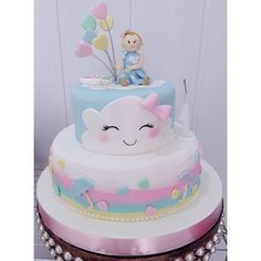 ideas cake fondant bautizo sweets for 2019 3rd Birthday Cakes, Rainbow Birthday, 1st Birthday Girls, Baby Shower Cakes, Baby Shower Gifts, Cake Pops Frosting, Cloud Decoration, Cloud Cake, Twins Cake