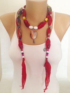 Bohemian Jewelry Scarf Red Scarf Necklace Print by MaxiJoy, $12.00
