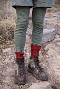 Red socks and boots.