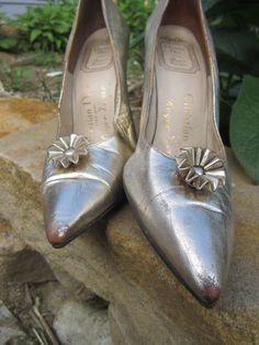 Roger Vivier for Dior 1950's shoes - vintage gold bombshell stiletto heels pumps.