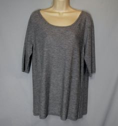 * EILEEN FISHER size L large CASHMERE sweater HEATHERED GRAY Grey boatneck