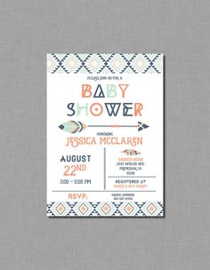 Mint Coral Navy Tribal Baby Shower Invitation by CoralBalloon