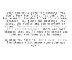 when you love someone quotes | when you truly care for someone you don t look for faults you don t ...