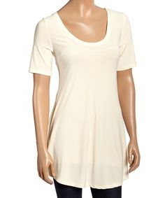 Loving this Quiz White Scoop Neck Tunic on #zulily! #zulilyfinds