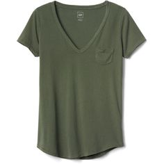 Gap Women Vintage Wash Sueded V Neck Tee ($25) ❤ liked on Polyvore featuring tops, t-shirts, shirts, green v neck shirt, v neck shirt, short sleeve shirts, gap t shirts and tee-shirt