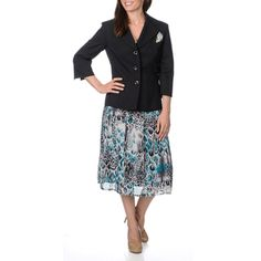 @Overstock - Danillo Women's Professional 2-piece Skirt Suit - The Danillo skirt suit features a bracelet sleeve notch collar and stylish single breasted design. A colorful skirt with animal print completes the look of this versatile professional skirt suit.  http://www.overstock.com/Clothing-Shoes/Danillo-Womens-Professional-2-piece-Skirt-Suit/9169975/product.html?CID=214117 $79.99