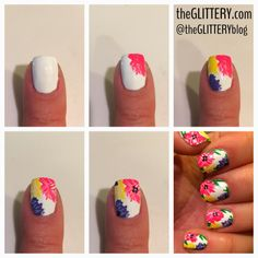 easy flower nail art tutorial! get the step-by-step deets at theGLITTERY.com!