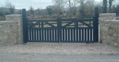 Entrance Gates Made from Timber or Steel Entrance Gates, Outdoor Furniture, Outdoor Decor, Garden Bridge, Outdoor Structures, Steel, Architecture, Black, Home Decor
