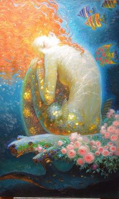 Mermaid painting by Victor Nizovtsev For a long time now, I have been searching for the perfect marine scent. It has to remind me of the sea, be invigorating Art Et Illustration, Illustrations, Victor Nizovtsev, Mermaid Fairy, Siren Mermaid, Mermaids And Mermen, Merfolk, Pics Art, Mythical Creatures