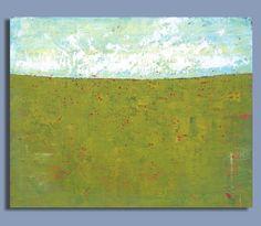 Abstract Green Prairie Painting - Summer Field (16x20) Original Acrylic Wall Decor - Sage Mountain Studio