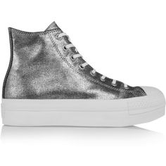 Converse Chuck Taylore metallic canvas sneakers ($72) ❤ liked on Polyvore featuring shoes, sneakers, vans, silver, metallic shoes, canvas sneakers, metallic sneakers, round toe sneakers and laced shoes