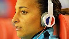 Sarah Bouhaddi of France looks on