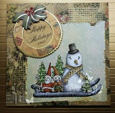 """This card is approx 6x6"""" and features a hand coloured stamp done in Copics. Lots of lovely little gems give this vintage-look card a little sparkle.   (stamp by Ching-Chou Kuik)"""