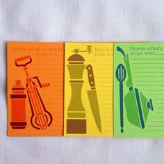 vintage 60's recipe cards COLORFUL COOKERY set on Etsy, $8.00