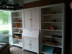 My new IKEA shelves and desk with hutch. LOVE them! CW