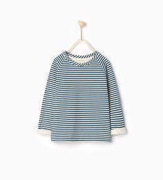 Koszula z tkaniny dresowej w paski - BLUZY - DZIEWCZYNKA | 4 - 14 lat - DZIECI | ZARA Polska