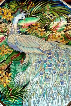 musclassic Peacock Art...Stained Glass...By Artist Unknown...: