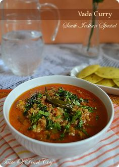 Vada Curry       Vada curry is a traditional South Indian dish which is normally served with idli's , dosas or appams.  Vada curry is usuall...