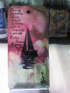 Sail away -Ranger alcohol inks and archival, darkroom door stamps post Technique Overload with Tim Holtz Sydney 2012