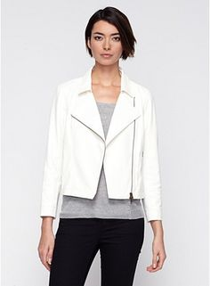 Short Biker Jacket with Knit Panel in Lightweight Drapey Leather #eileenfisher