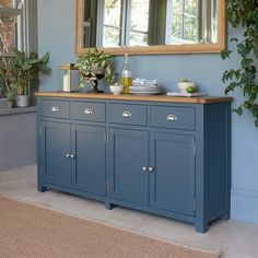 For the Home Westcote Blue Extra Large Sideboard - The Cotswold Company The Hampton Bay Ceiling Fan Dining Room Sideboard, Large Sideboard, Dining Room Furniture, Credenza, Dark Blue Kitchen Cabinets, Dark Blue Kitchens, Oak Cabinets, Side Board, Kitchen Buffet