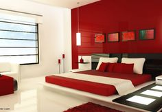 Red And White And Black Modern Bedroom