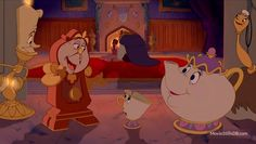 Beast, Cogsworth, Lumiere, Belle, Fifi, Mrs Potts and Chip