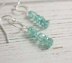 Earrings with a Sterling Silver Loops and Faceted Apatite Beads CHE-289 by jewelrybyroz on Etsy