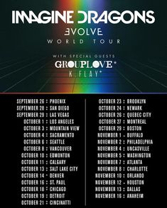 "53.4k Likes, 4,236 Comments - Imagine Dragons (@imaginedragons) on Instagram: ""ƎE BIG ANNOUNCEMENT: the Evolve World Tour will start in September, and we will be playing with our…"""