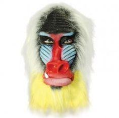 Rubber Overhead Zebra Mask with Faux Fur Trim Animal Fancy Dress